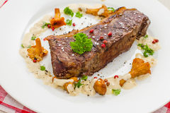 Grilled rump steak with chanterelle, sauce Royalty Free Stock Photography