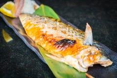 Grilled saba fish Stock Photo