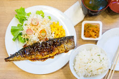 Grilled Saba fish sauce soy with vegetable Royalty Free Stock Image