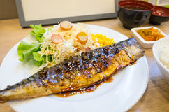 Grilled Saba fish sauce soy with vegetable Royalty Free Stock Photography