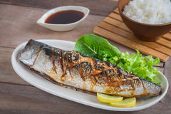 Grilled saba fish with sweet sauce on plate and rice Stock Photos