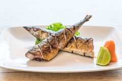 Grilled saba steak Royalty Free Stock Images