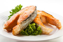 Grilled salmon. Healthy grilled salmon with vegetables royalty free stock images