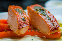 Grilled salmon. Salmon on a bed of carrots Stock Photos