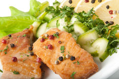 Grilled salmon. Fish dish - grilled salmon with vegetables Stock Photo
