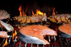 Grilled salmon Stock Image