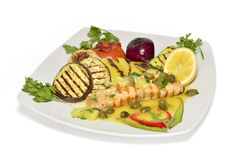 Grilled salmon. With vegetables on white plate Stock Photo