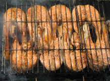Grilled salmon. Close-up of the grilled salmon pieces (background Royalty Free Stock Photos