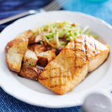Grilled salmon with asian slaw Stock Image