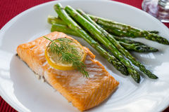 Grilled salmon and asparagus stock image