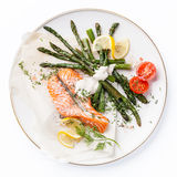 Grilled salmon with asparagus Royalty Free Stock Image