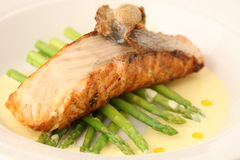 Grilled salmon with asparagus Stock Image
