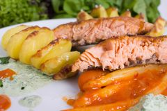 Grilled salmon. With asparagus in paprika chutney and potato spirals stock photo