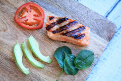 Grilled salmon avocado slices and tomato top view Royalty Free Stock Photography