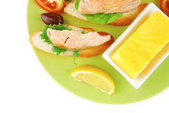 Grilled salmon on baguette slices Royalty Free Stock Photography