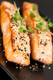 Grilled salmon on black plate angled Royalty Free Stock Image