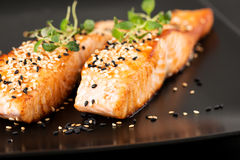 Grilled salmon on black plate close up. Grilled salmon, sesame seeds  and marjoram on a black plate. Studio shot Royalty Free Stock Photo