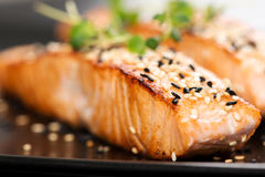 Grilled salmon on black plate Royalty Free Stock Image