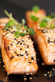 Grilled salmon on black plate Royalty Free Stock Photography
