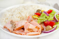 Grilled salmon with boiled rice Royalty Free Stock Photography