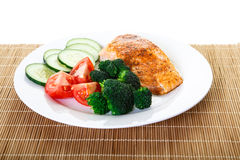 Grilled Salmon with Broccoli Tomatoes and Cucumber Royalty Free Stock Photography