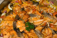 Grilled salmon  with butter sauce on dish. A Grilled salmon  with butter sauce on dish Royalty Free Stock Image