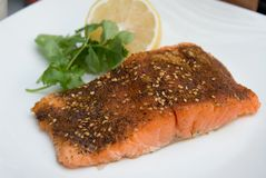Grilled Salmon cajun spiced fillet with lemon and cilantro Stock Photos