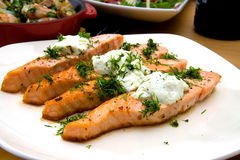 Grilled salmon with cheese and herbs Stock Photography
