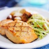 Grilled salmon closeup Stock Photo