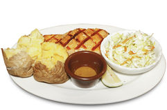 Grilled salmon with coleslaw salad. Picture of grilled salmon with coleslaw salad stock photos