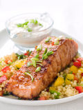 Grilled salmon with couscous Stock Photo