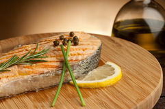 Grilled Salmon with cream sauce Stock Photos