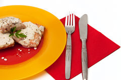 Grilled salmon with cream sauce and parsley Stock Image