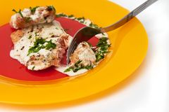 Grilled salmon with cream sauce and parsley Stock Images