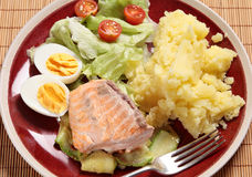 Grilled salmon dinner royalty free stock images