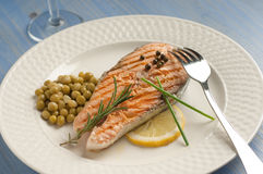 Grilled Salmon on dish Royalty Free Stock Images