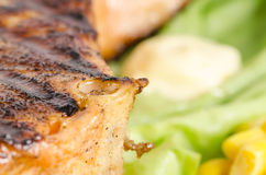 Grilled salmon dish close up Stock Photo