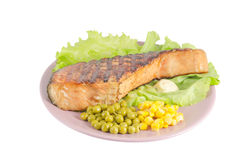 Grilled salmon dish Royalty Free Stock Image
