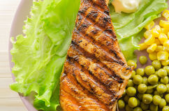 Grilled salmon at dish Stock Photo