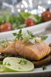 Grilled salmon filet on mushrooms Stock Photo