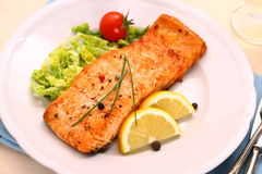 Grilled salmon filet and vegetables, close up Stock Image