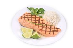 Grilled salmon filler with risotto. Stock Images