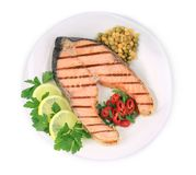 Grilled salmon filler with vegetables. Stock Images