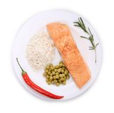 Grilled salmon filler with vegetables. Stock Photo