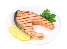 Grilled salmon filler with vegetables. Stock Photography