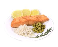 Grilled salmon filler with vegetables. Stock Image
