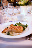 Grilled Salmon fillet at Banquet Royalty Free Stock Photo