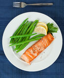 Grilled Salmon Fillet with Green Beans Plate. Straight View of Grilled Salmon Fillet with Green Beans Plate Royalty Free Stock Photos