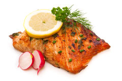 Grilled salmon fillet. Royalty Free Stock Photography