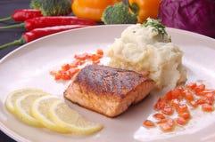 Grilled Salmon Fillet Lemon Stock Photo